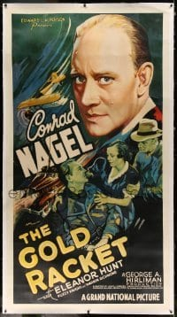 5b043 GOLD RACKET linen 3sh '37 Treasury agent Conrad Nagel stops Mexicans smuggling gold into US!