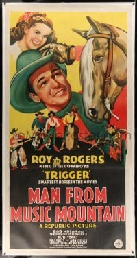 5b047 MAN FROM MUSIC MOUNTAIN linen 3sh '43 art of Roy Rogers, Trigger & The Sons of the Pioneers!