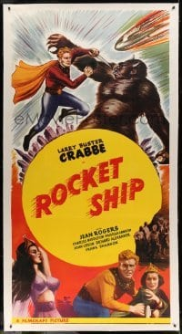 5b048 MARS ATTACKS THE WORLD linen 3sh R50 Buster Crabbe, feature version of serial, Rocket Ship!