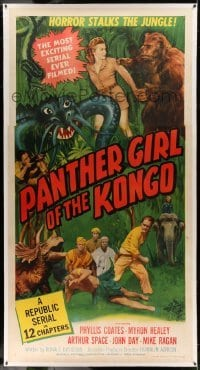 5b051 PANTHER GIRL OF THE KONGO linen 3sh '55 Phyllis Coates, wild art of man-made monsters!