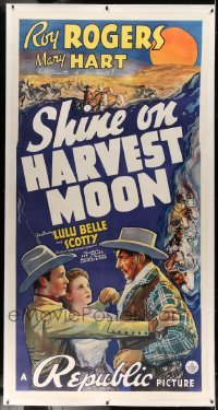5b055 SHINE ON HARVEST MOON linen 3sh '38 great art of Roy Rogers protecting Lynne Roberts!