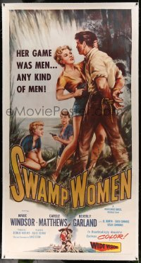 5b058 SWAMP WOMEN linen 3sh '56 love-starved Louisiana bayou woman's game is men, any kind of men!