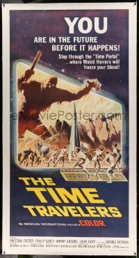5b060 TIME TRAVELERS linen 3sh '64 cool Reynold Brown sci-fi art of the crack in space and time!