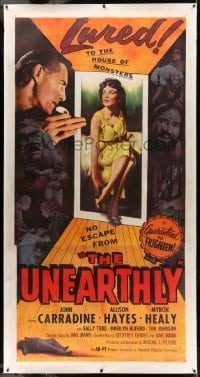 5b062 UNEARTHLY linen 3sh '57 John Carradine & sexy Allison Hayes lured to the house of monsters!