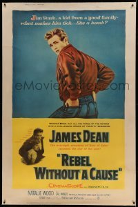 5b023 REBEL WITHOUT A CAUSE linen style Z 40x60 '55 Nicholas Ray, James Dean, classic film!
