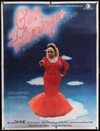 5b018 PINK FLAMINGOS linen French 1p '76 Divine, John Waters' classic exercise in poor taste!