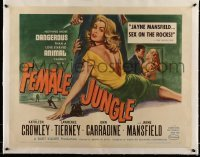 5b072 FEMALE JUNGLE linen 1/2sh '56 there's nothing more dangerous than a sexy love starved animal!