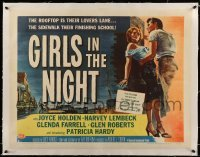 5b073 GIRLS IN THE NIGHT linen style B 1/2sh '53 first shocking story of teenage delinquent girls!