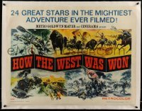 5b074 HOW THE WEST WAS WON linen style A Cinerama 1/2sh '64 Reynold Brown montage art, John Ford!