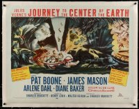 5b075 JOURNEY TO THE CENTER OF THE EARTH linen 1/2sh '59 Jules Verne, great sci-fi monster artwork!