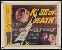 5b077 KISS OF DEATH linen 1/2sh '47 Victor Mature, Brian Donlevy, Coleen Gray, film noir classic!