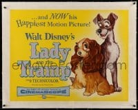 5b078 LADY & THE TRAMP linen 1/2sh '55 Disney's happiest motion picture, canine dog classic cartoon!