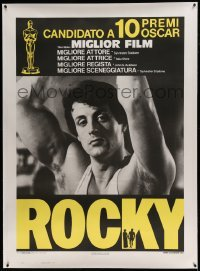 5b010 ROCKY linen Italian 1p '77 different close up of boxer Sylvester Stallone, boxing classic!
