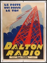 5b027 DALTON RADIO linen 46x62 French advertising poster '40s cool art of radio tower in the clouds!