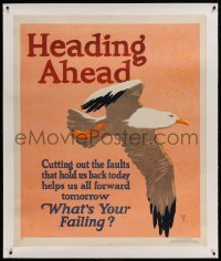 5b026 HEADING AHEAD linen 36x44 motivational poster '29 Henry Lee Jr. art, what's YOUR failing?