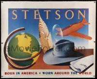 5b031 STETSON signed linen 47x57 advertising poster '99 by artist Razzia, worn around the world!