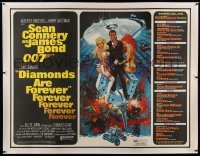 5b024 DIAMONDS ARE FOREVER linen subway poster '71 McGinnis art of Sean Connery as James Bond, rare!
