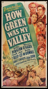 5c010 HOW GREEN WAS MY VALLEY style B 3sh '41 John Ford classic, stone litho art of top cast, rare!