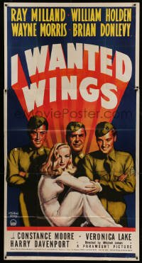 5c009 I WANTED WINGS 3sh '41 art of sexy Veronica Lake, Milland & Holden by McClelland Barclay!