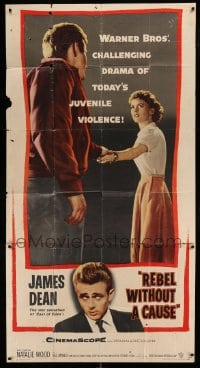 5c011 REBEL WITHOUT A CAUSE 3sh '55 Nicholas Ray, James Dean was a bad boy from a good family!
