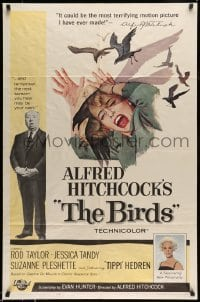 5c025 BIRDS 1sh '63 director Alfred Hitchcock shown, Tippi Hedren, classic intense attack artwork!
