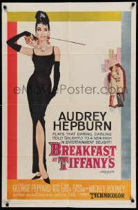 5c021 BREAKFAST AT TIFFANY'S 1sh '62 most classic McGinnis art of sexy elegant Audrey Hepburn!