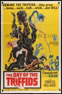 5c026 DAY OF THE TRIFFIDS 1sh '62 classic English sci-fi horror, cool art of monster with girl!