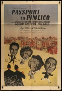 5c003 PASSPORT TO PIMLICO English 1sh '49 Stanley Holloway, Ealing Studios black comedy, rare!
