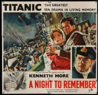5c001 NIGHT TO REMEMBER English 6sh '58 English Titanic biography, Kenneth More, ultra rare!