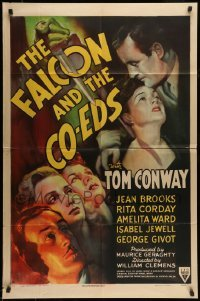 5c027 FALCON & THE CO-EDS 1sh '43 artwork of detective Tom Conway & pretty ladies under knife!