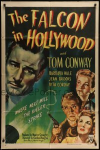 5c029 FALCON IN HOLLYWOOD 1sh '44 detective Tom Conway, where next will the killer strike!