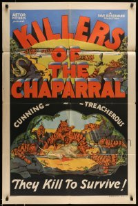5c034 KILLERS OF THE CHAPARRAL 1sh '30s Savage art, cunning & treacherous, kill to survive, rare!