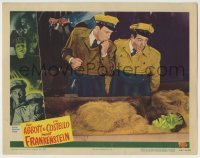 5c063 ABBOTT & COSTELLO MEET FRANKENSTEIN LC #2 '48 Bud & Lou stare at monster in packing crate!
