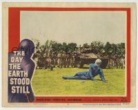 5c079 DAY THE EARTH STOOD STILL LC #6 '51 Rennie in space suit injured on ground by soldiers!