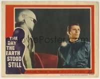 5c076 DAY THE EARTH STOOD STILL LC #7 '51 great close up of Michael Rennie standing by Gort!