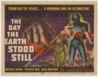 5c074 DAY THE EARTH STOOD STILL TC '51 classic art of Gort holding Patricia Neal, Michael Rennie!