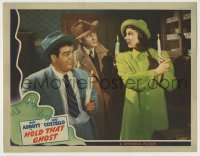 5c067 HOLD THAT GHOST LC '41 Bud Abbott, Lou Costello & scared Joan Davis all holding candles!