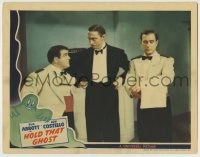 5c070 HOLD THAT GHOST LC '41 angry Mischa Auer glaring between waiters Bud Abbott & Lou Costello!