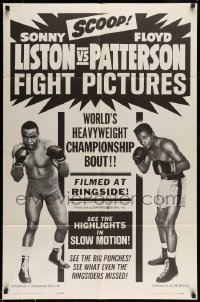 5c036 LISTON VS PATTERSON FIGHT PICTURES 1sh '63 world heavyweight championship boxing bout, rare!