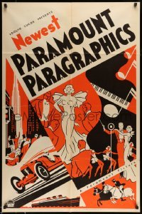 5c038 NEWEST PARAMOUNT PARAGRAPHICS 1sh '30s art of nightclub performers, race car & more!
