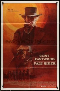 5c039 PALE RIDER int'l 1sh '85 great different art of cowboy Clint Eastwood by David Grove!