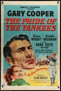 5c041 PRIDE OF THE YANKEES style A 1sh R49 Gary Cooper as Lou Gehrig, Babe Ruth himself in uniform!