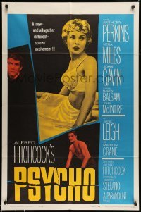 5c042 PSYCHO 1sh '60 sexy half-dressed Janet Leigh, Anthony Perkins, Alfred Hitchcock classic!