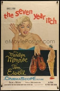 5c043 SEVEN YEAR ITCH 1sh '55 Billy Wilder, great art of sexy Marilyn Monroe w/shoes by Tom Ewell!