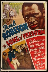 5c045 SONG OF FREEDOM 1sh '38 Paul Robeson in his most memorable role, a $500,000 epic, rare!
