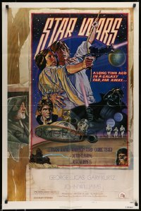 5c047 STAR WARS signed style D NSS style 1sh '77 by Carrie Fisher, cool art by Struzan & White!