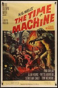5c049 TIME MACHINE 1sh '60 H.G. Wells, George Pal, great Reynold Brown sci-fi artwork!