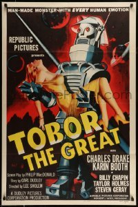 5c050 TOBOR THE GREAT 1sh '54 man-made funky robot with every human emotion holding sexy girl!