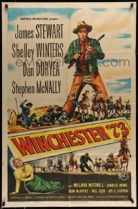 5c053 WINCHESTER '73 1sh '50 art of James Stewart with rifle over Shelley Winters, Anthony Mann!