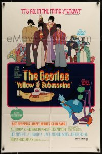 5c054 YELLOW SUBMARINE 1sh 1968 psychedelic art, John, Paul, Ringo & George, 11 song style